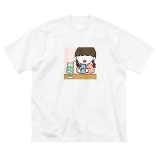クリームソーダと女の子 Big silhouette T-shirts