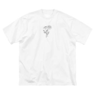 黒デイジー Big silhouette T-shirts