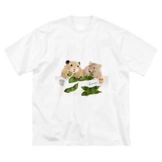 【KAMAP】枝豆とハムスター兄弟 Big silhouette T-shirts