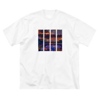 大自然の力 ストライプ Big silhouette T-shirts