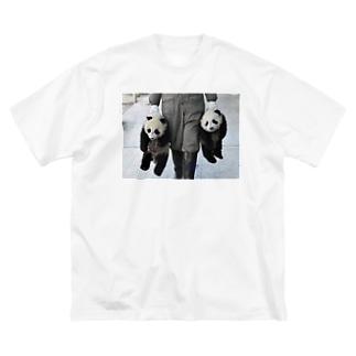 パンダ誘拐 Big silhouette T-shirts