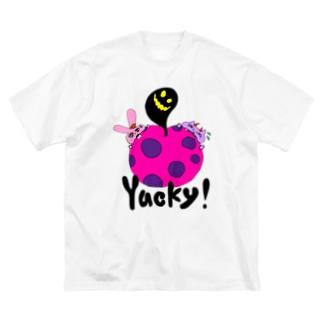 ちょりたん画伯キャラクターズショップのYucky! かぶりつきシリーズ 毒りんご Big silhouette T-shirts