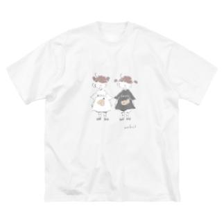 もふ子のふらいTシャツを着たおんなのこ Big silhouette T-shirts
