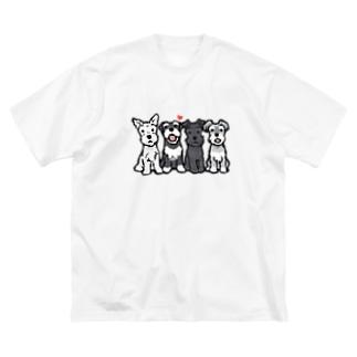 シュナウザーカルテット Big silhouette T-shirts