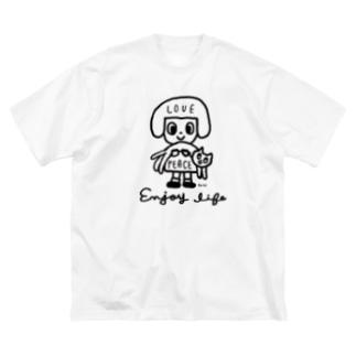 love & peace Big silhouette T-shirts