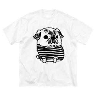 パグのPecoちゃん Big silhouette T-shirts