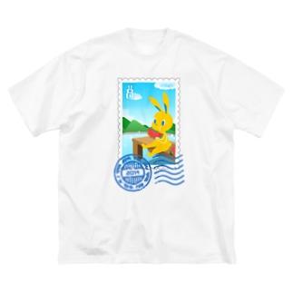 納涼うさぎ切手風 Big silhouette T-shirts