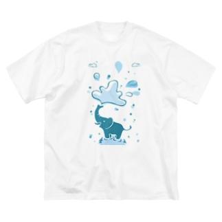 像の水浴び Big silhouette T-shirts