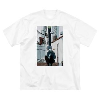 黄 Big silhouette T-shirts