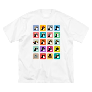 ペンギン集合 Big silhouette T-shirts