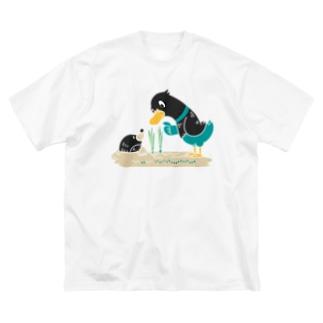 CT159 ネギを値切っている鴨カモ*B*白フチなし*大きいイラスト Big Silhouette T-Shirt