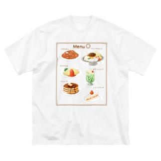 喫茶店メニューとまるまるつるっとしたうさぎ Big silhouette T-shirts