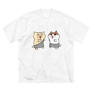 にゃらいさんとみゃろくさんTシャツ Big silhouette T-shirts
