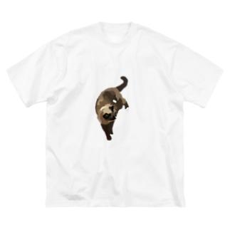 愛猫とてぐせねこ Big silhouette T-shirts