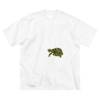 リクガメハイハイ Big silhouette T-shirts