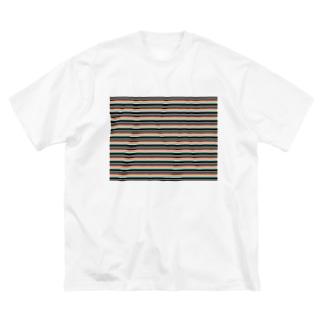 ボーダー水色ピンク Big silhouette T-shirts