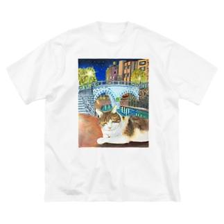 ウトウトする猫ちゃん Big silhouette T-shirts