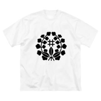 ばら藤に井桁 Big silhouette T-shirts