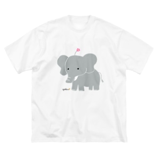 お花ぞうさん Big silhouette T-shirts
