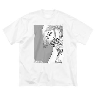 牡丹の女 Big silhouette T-shirts