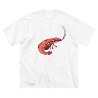 えび シュリンプちゃん Big silhouette T-shirts