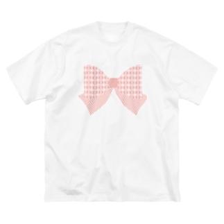 和モダン柄〜釘抜繋ぎ風ストライプリボン〜 Big silhouette T-shirts