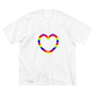 レインボーハート♡ Big silhouette T-shirts