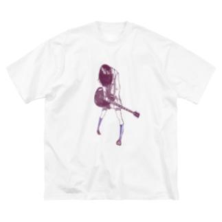 ギターガール013 Big silhouette T-shirts