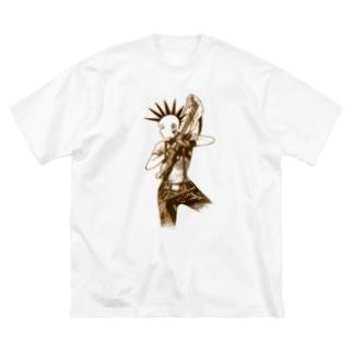 パンクギターガール001 Big Silhouette T-Shirt