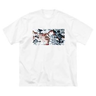 紫陽花グラフィックT Big silhouette T-shirts