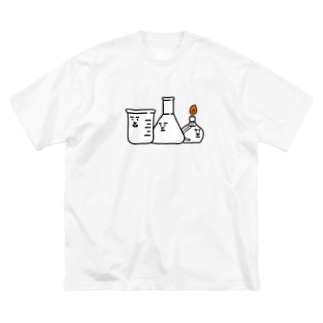 ビーカーくんとそのなかまたちロゴ Big silhouette T-shirts