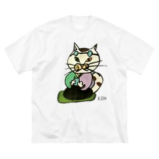 NEKO KEN おばあちゃんネコTシャツ Big Silhouette T-Shirt