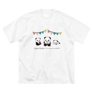 パンダファミリー(ニンキモノパンダ) Big T-shirts