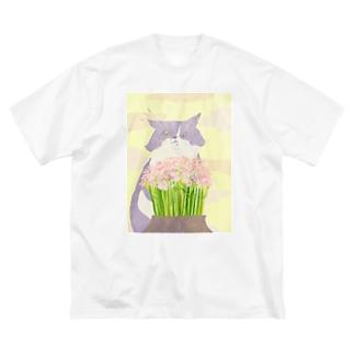 猫と花 Big silhouette T-shirts