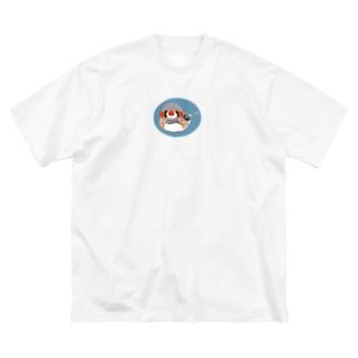 キンカチョウもしゃもしゃ Big silhouette T-shirts