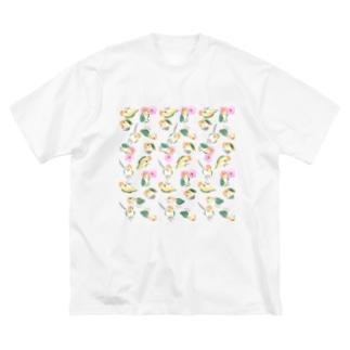 たっぷりシロハラインコちゃん【まめるりはことり】 Big silhouette T-shirts