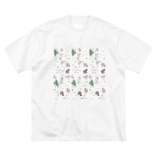 たっぷり文鳥ちゃん【まめるりはことり】 Big silhouette T-shirts