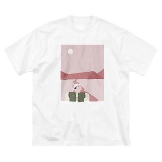 ピンクのおやまに Big silhouette T-shirts