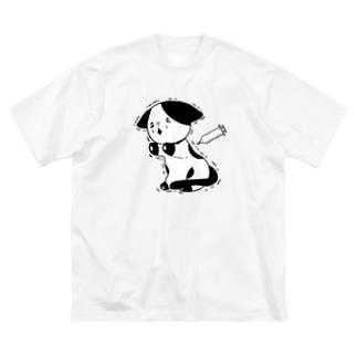 注射が怖い猫 Big silhouette T-shirts