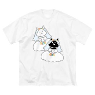 シロクロニャンコニャンコ Big silhouette T-shirts