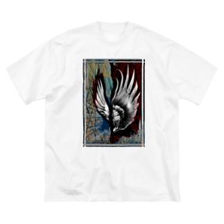 苛烈な羽 Big Silhouette T-Shirt