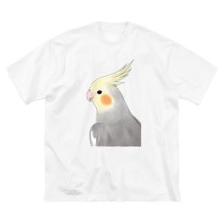 見つめるオカメインコちゃん【まめるりはことり】 Big silhouette T-shirts