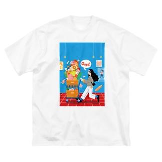 Autumn Shopping_背景あり Big T-shirts