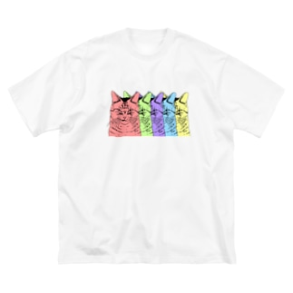 目つきの悪い猫カラフル Big T-shirts