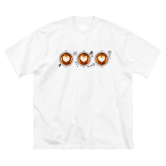 【Lady's sweet coffee】ラテアート メッセージハート / With accessories ~2杯目~ Big Silhouette T-Shirt