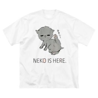 NEKO IS HERE. Big T-shirts