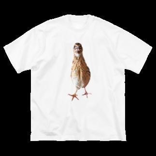 うずぴよの伸びるウズラ Big silhouette T-shirts