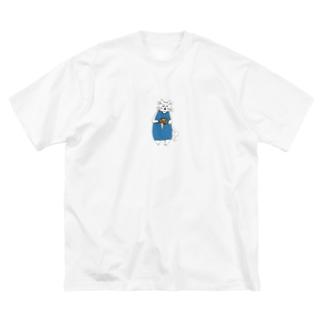 巻きしいたけ柄マキシ丈ワンピを着た猫 Big silhouette T-shirts