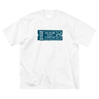 恐竜時代タイムマシンチケット〜ジュラ紀行き〜 Big silhouette T-shirts