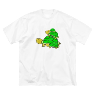 可愛い亀の親子 Big silhouette T-shirts